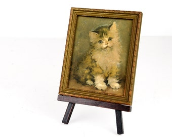 kitten print, framed, three dimensional, Florence Kroger print, cottage chic, wood frame, ready to hang, calico cat, easel included,