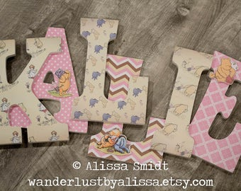 Winnie the Pooh Nursery Letters, Custom Wooden Letters -  9 Inch Hanging (pink, winnie the pooh, piglet, eeyore, christopher robin)