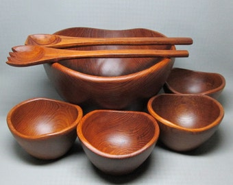Goodwood teak salad set , solid wood , one large bowl 4 small bowls fork and spoon