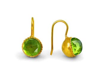 Gold Peridot Earrings, Peridot Earrings, Peridot Jewelry, Green Earrings, Peridot Green Cubic Zirconia Earrings , August Birthstone Jewelry
