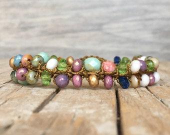 Boho Hippie Stackable Bracelet - artisan beaded bracelet - yoga boho - boho crochet bracelet - hippie bracelet - beaded bracelet