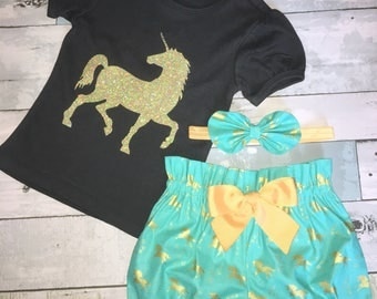 Gold Unicorn Top, Birthday Girl Outfit, One, Two Birthday, Headband, Sparkly Unicorn, Complete Toddler Set, Bubble Sleeve Black Shirt