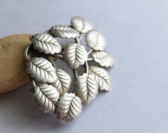 Silver Textured Leaves  Brooch- Czchecoslovakia stamped