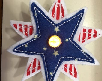 Flameless Embroidered Tealight Covers - Shabby Star or Patriotic Uncle Sam - great for Americana Decor