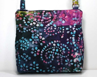Small Pleated Shoulder Purse Sling Bag Hobo Shoulder Bag Cross Body Bag Crossbody Bag - Colorful Batik Pleated Purse - Ready to Ship