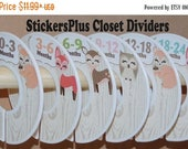 BIG SALE Baby Closet Dividers Organizers Assembled or PreCut DIY Woodland Animals Deer Squirrel Fox Owl Baby Girl Clothes Size Dividers Show