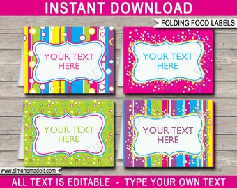Editable Food Labels - Buffet Tags - Tent Cards - Party Decorations - INSTANT DOWNLOAD with EDITABLE text - you personalize at home