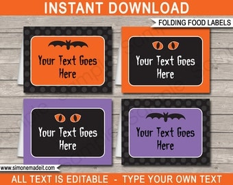 Halloween Party Food Labels - Halloween Theme - Buffet Food Tags - Placecards - Party Decorations - INSTANT DOWNLOAD with EDITABLE text