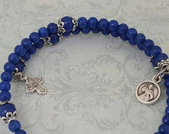 Rosary Bracelet, Lapis Blue Mountain Jade, Divine Mercy, Our Lady, 5 Way Cross, Five Decade, Stainless Steel, Memory Wire, Wrapped Rosary