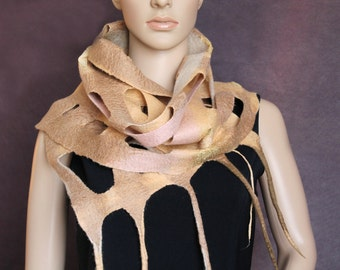 Wet felted netting shawl beige-brown pink Eco-friendly Scarf  Wrap Ready to ship