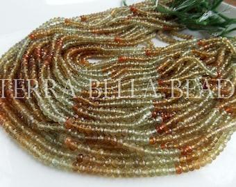 "12"" strand green shaded AAA GROSSULAR GARNET faceted rondelle gem stone beads 3.5mm - 4mm"