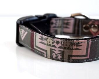 Southwestern Dog Collar - Gray, pink