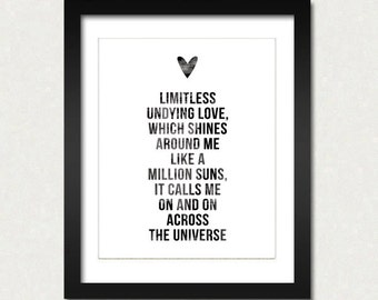 Across the Universe Modern Home Decor Print Beatles Inspired John Lennon Quotes Black and White Prints Minimalist Art SALE buy 2 get 3