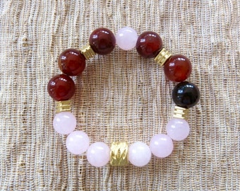 Bohemian style bracelet - gemstone bracelet - Red brown and rose Jade beads - gold filled beads - stretch bracelet