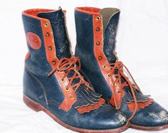 Vintage Justin Leather ROPER Lace up work Boots sz 7.5