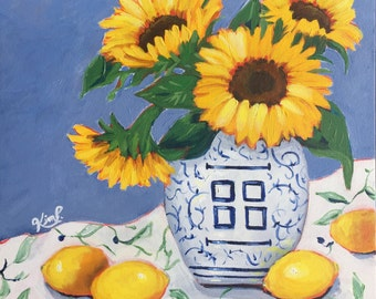Sunflowers and lemons in blue and white vase, still life,  fine art , canvas,  original painting,  large painting