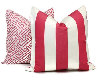 Schumacher Pink and White Cabana Stripe Pillow Cover Choose your size  Square, Eurosham or Lumbar pillow, toss pillow, accent pillow,