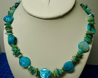 Necklace, beautiful blue shell necklace