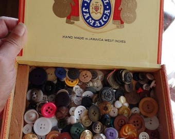 Buttons Lot Vintage Antique New in Royal Jamaica Cigar Box Wood Storage Bulk DIY Supplies