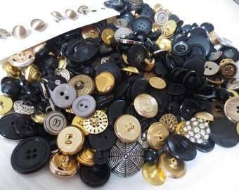 Button Lot Black Gold Silver Grey 300+ Bulk DIY Sewing Supplies Crafting Mix