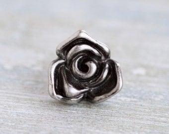 Dark Silver Rose Lapel Pin - Tiny Flower Badge