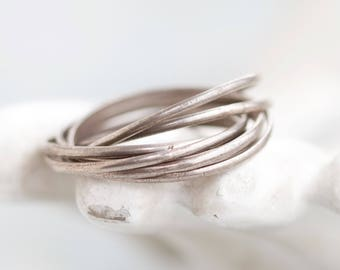 Interlocking Ring Bands - Sterling Silver 7 Slaves Ring - Size 9 - 7 Blessings