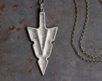 Pewter Spearhead Necklace - Boho Arrowhead Pendant on Chain