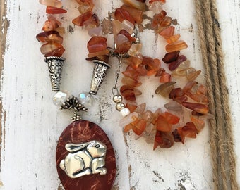 Carnelian Jasper Beaded Gemstone Bunny Necklace Spring