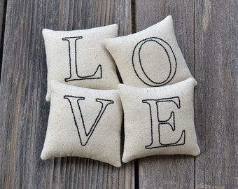 LOVE Decorative Pillows - Wedding Decor Tucks - Anniversary Gift - Shelf Sitters Home Decor - Valentines Day Bowl Fillers - Black Ticking
