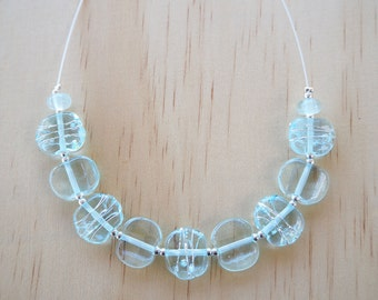 Recycled Glass Bead Necklace. Glass Beads made from a wine bottle