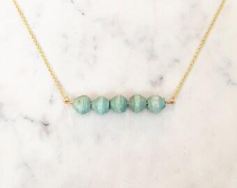 Aqua Paper Bead Bar Necklace ~ Gold