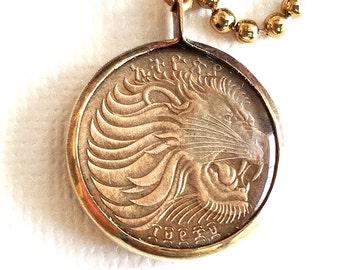 Ethiopian Lion Coin Pendant
