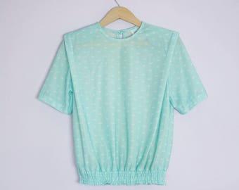 Vintage 1980's Aqua Blue Seafoam Green Blouse M/L
