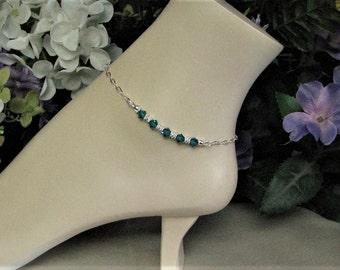 Sterling Silver Birthstone Anklet-Silver Plated Anklet-Indicolite Anklet-Blue Anklet-Ankle Jewelry-Dressy Ankle Bracelet-Custom Anklet