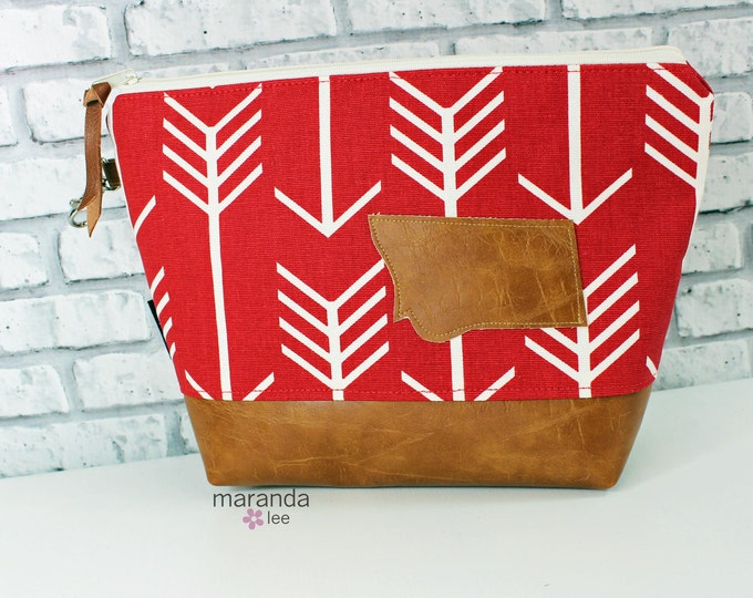 AVA Clutch -Large - Red Arrows with Montana Patch PU Leather Cosmetic  READY to SHIp Diaper bag Travel Make Up Zipper Pouch Archer Archery