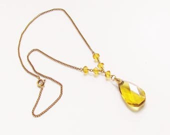 Vintage Deco Czech Yellow Amber Glass Pendant Beaded Necklace 1930s