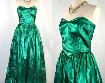 1980s Metallic Green Strapless Formal Dress, Bubble Skirt, Holiday/Christmas Party/Event, Mermaid Dress