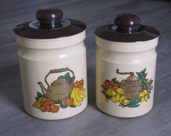 Vintage 80's Metal Canisters - Set of Two - Beige and Brown