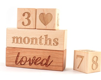 photography prop age blocks - wooden blocks to document baby's age with blessed and loved block, newborn photo prop