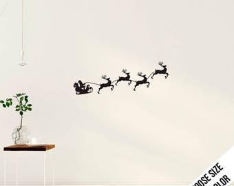 Santa Claus and his Reindeer Wall Decal - Vinyl Sticker - Christmas,  Flying sleigh
