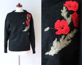 Vintage Sweater - 1980's Angora Sweater with Floral Embroidery - Size S-M