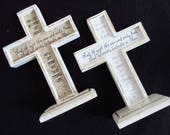 Wooden Cross with John 3:16 - Chippy Paint White, Cream and Gold - Easter Cross Christian Home Decor