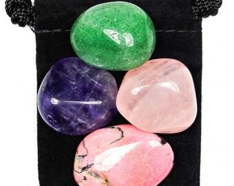 OVERCOMING GRIEF Tumbled Crystal Healing Set - 4 Gemstones w/Description & Pouch - Amethyst, Aventurine, Rhodonite, Rose Quartz