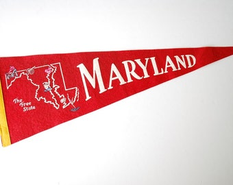 "Vintage 1960's Maryland - The Tree State - Travel Souvenir Pennant - 26"" Red Felt Pennant"