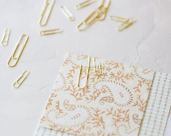 Gold Paper Clips - Small / Large - 25 pc
