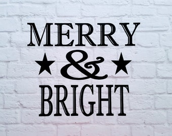 Merry And Bright Christmas Vinyl Wall Decal