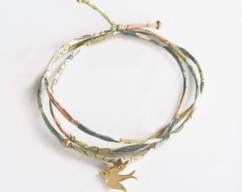 Liberty Bracelet with gold plated Swallow • Bracelet Liberty Hirondelle en Plaqué Or jaune