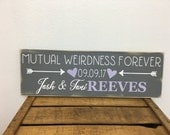 Personalized family sign - distressed, rustic - couple's first names and last name, est. date, heart and arrows LR-103