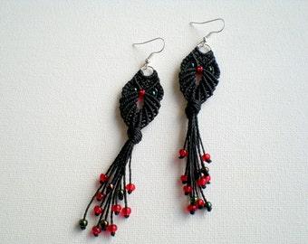 Macrame jewellery. Owl. Macrame earrings. Handmade earrings. Gypsy. Tribal. Fiber art. Women fashion. Black earrings.