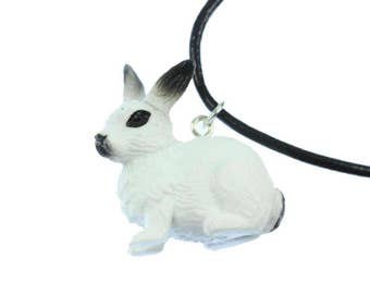 Hare Bunny Rabbit Necklace Miniblings 45cm leather strap